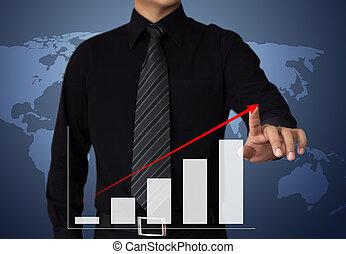 homme affaires, dessin, a, croissance, graphique