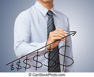 homme affaires, dessin, a, levée, flèche, à, signe dollar, représenter, croissance affaires