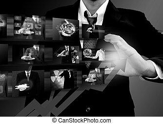 homme affaires, dessin, a, levée, flèche, ., croissance affaires, concept
