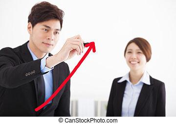 homme affaires, dessin, a, levée, flèche, pour, croissance affaires, concept