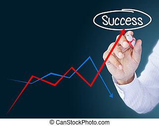 homme affaires, dessin, a, levée, flèche, représenter, croissance affaires