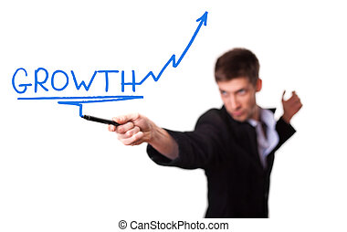 homme affaires, dessin, a, levée, flèche, représenter, croissance affaires, (selective, focus)