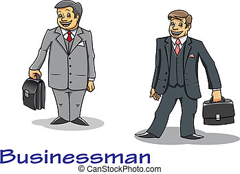 homme affaires, dessin animé, caractères