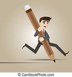 homme affaires, dessin animé, grand, crayon