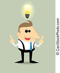 homme affaires, dessin animé, idée