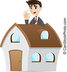 homme affaires, dessin animé, maison