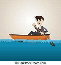 homme affaires, dessin animé, mer, pagayer
