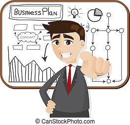 homme affaires, dessin animé, plan affaires