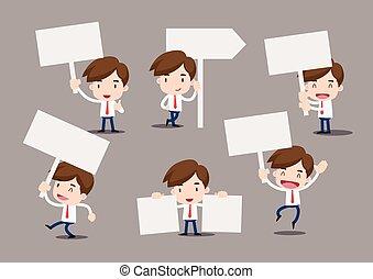 homme affaires, dessin animé, signe blanc