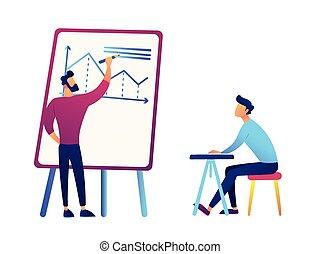 homme affaires, dessin, business, analyse, diagramme, et, homme affaires, bureau, vecteur, illustration.