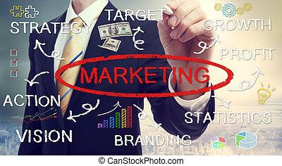 homme affaires, dessin, commercialisation, concept, diagramme