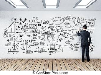 homme affaires, dessin, concept affaires