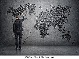 homme affaires, dessin, planisphère, sur, les, mur concret