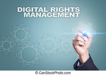 homme affaires, dessin, sur, virtuel, screen., numérique, droits, gestion, concept