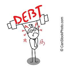 homme affaires, dette, faible