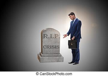 homme affaires, deuil, les, crise, dans, économie