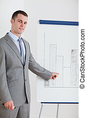 homme affaires, diagramme, pointage