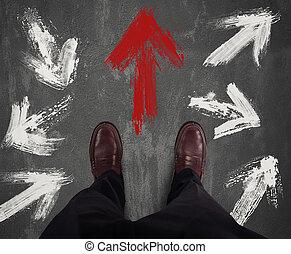 homme affaires,  direction, décidé, droit