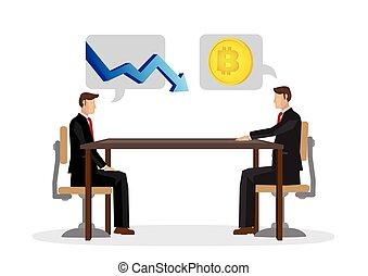 homme affaires, discussion, bitcoin, automne, future.