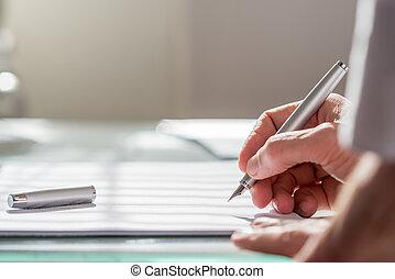 homme affaires, document, écriture