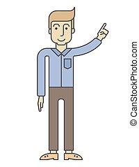 homme affaires, doigt, élévation, point