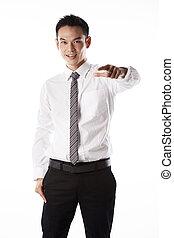homme affaires, doigt indique, asiatique