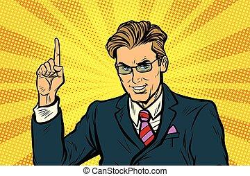 homme affaires, doigt indique, haut