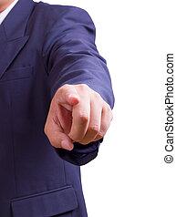 homme affaires, doigt indique, isolé