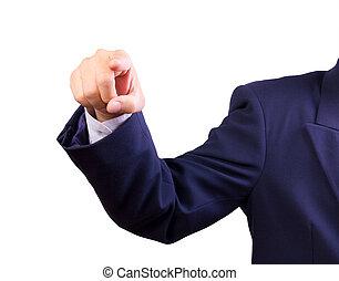 homme affaires, doigt indique, main