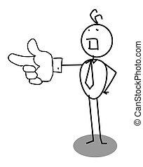 homme affaires, doigt indique