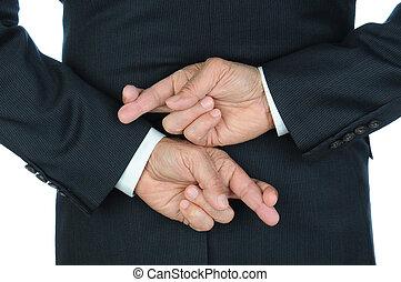 homme affaires, doigts traversés