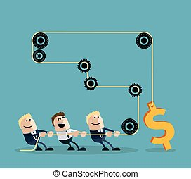 homme affaires, dollar, corde, traction, heureux