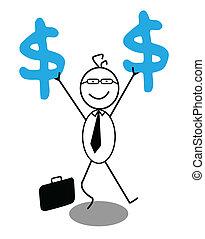 homme affaires, dollar, heureux