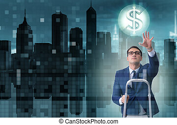 homme affaires, dollars, atteinte dehors