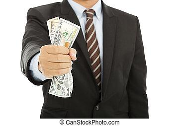 homme affaires, dollars, poignée, tenue, nous
