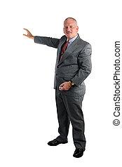 homme affaires, donner, présentation
