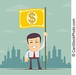 homme affaires, drapeau, billet banque., tenant main