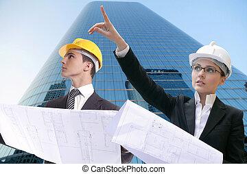 homme affaires, dur, architecte, femme affaires, chapeau