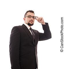 homme affaires, elle, toucher, isolé, glasses.