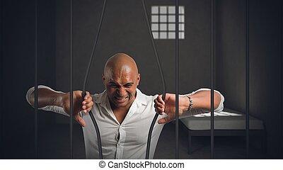 homme affaires, emprisonné