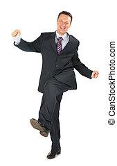 homme affaires, en mouvement, costume noir