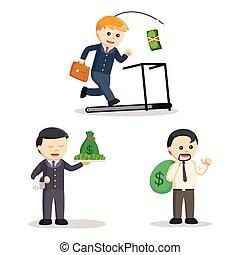 homme affaires, ensemble, argent