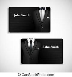 homme affaires, ensemble, carte, complet