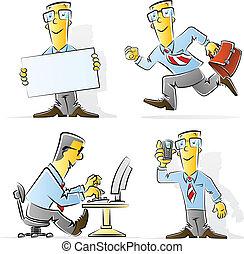 homme affaires, ensemble, dessin animé