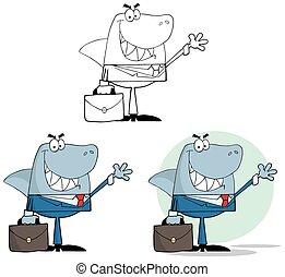 homme affaires, ensemble, shark., collection