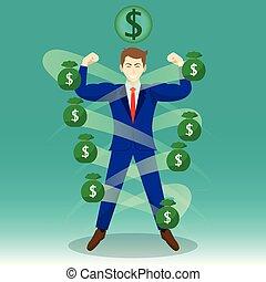 homme affaires, entouré, par, sacs argent