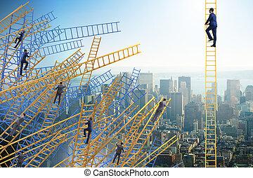 homme affaires, escalade, échelle carrière, dans, concept affaires