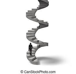 homme affaires, escalade, escalier spirale, béton