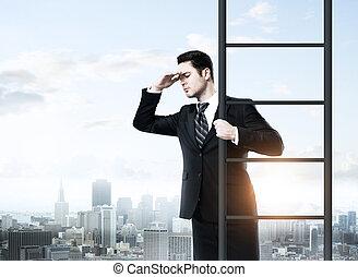 homme affaires, escalade, ladde