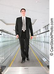homme affaires, escalator